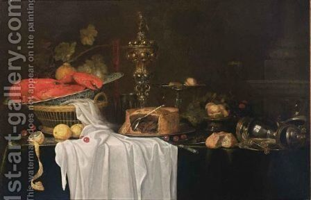 A Sumptuous Still Life With A Lobster In A Wan-Li Kraak Porcelain Bowl In A Basket Together With Grapes, Cherries And Lemons, A Flute, A Silver Beaker, A Silver-Gilt Cup With Cover, A Pie, A Silver Tazza With Peaches, Figs, Cherries And Hazelnuts by Andries Benedetti - Reproduction Oil Painting