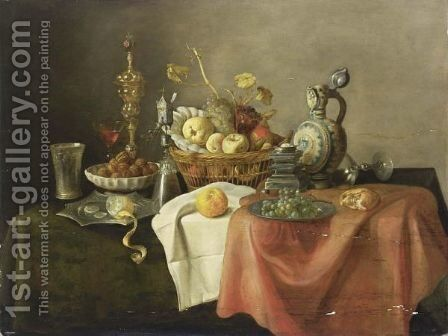 A Sumptuous Still Life With A Silver-Gilt Beaker, A Lemon On A Silver-Gilt Pointed Dish, Walnuts In A Porcelain Bowl, A Silver Gilt Cup With Cover, A Silver-Gilt Mill Glass, A Quince, An Apple, A Peach, Grapes, And Oranges In A Basket by Cornelis Mahu - Reproduction Oil Painting