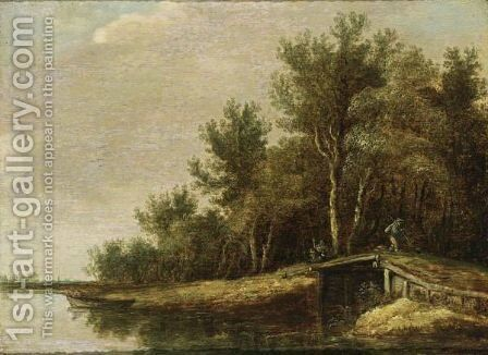 A River Landscape With A Fisherman In A Rowing Boat, And A Traveller On A Bridge by (after)  Jan Van Goyen - Reproduction Oil Painting