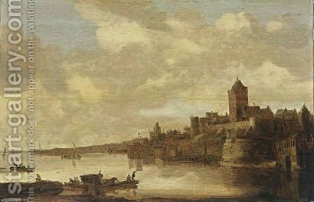 Nijmegen A View Of The Valkhof Seen From Across The River Rhine, With A Ferry In The Foreground by (after)  Jan Van Goyen - Reproduction Oil Painting