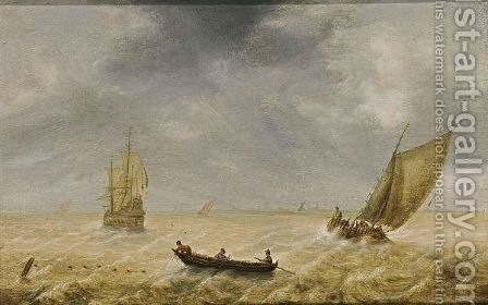 Fishermen In A Rowing Boat And Sailing Vessels In A Choppy Sea, A City In The Distance by Hendrik van Anthonissen - Reproduction Oil Painting