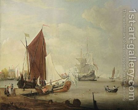 A Dutch Harbour Scene With A Smalschip, A Yacht, A Boeier, A Cargo Vessel, Rowing Boats And Other Vessels, Together With Figures Swimming And An Elegant Company On The Shore Near A Village by Dutch School - Reproduction Oil Painting
