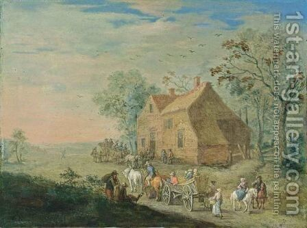 A Landscape With Travellers In Carts Near An Inn by (after) Jan The Elder Brueghel - Reproduction Oil Painting