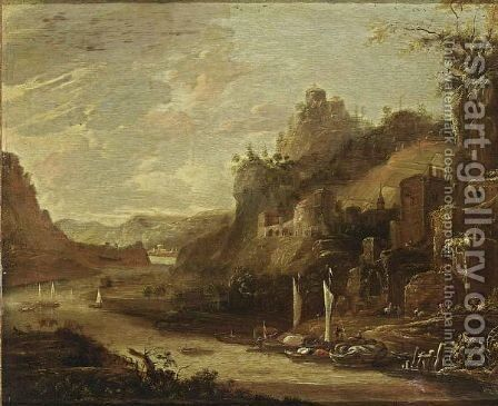 An Extensive River Landscape With Boats, A Fortified Town Together With Ruins On Hills Nearby by Herman Saftleven - Reproduction Oil Painting