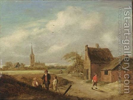 A Landscape With Travellers Resting And Figures On A Path Near A Farm, A Church Beyond by Claes Molenaar (see Molenaer) - Reproduction Oil Painting