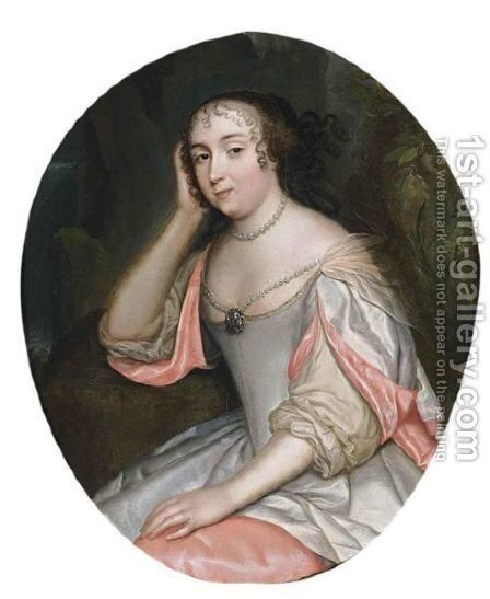 A Portrait Of A Lady, Seated Three-Quarter Length, Wearing A Pink And White Satin Dress And Pearl Jewellery, In A Park Setting by (after) Caspar Netscher - Reproduction Oil Painting