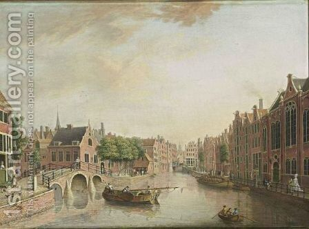 Amsterdam A View Of The Spui, With On The Left The Nieuwezijds Voorburgwal And The Entrance Of The Begijnhof With The Tower Of The Engelse Kerk, And The Bridge Of The Kalverstraat, The Tower Of The Zuiderkerk In The Background by Johann Jacob Koller - Reproduction Oil Painting