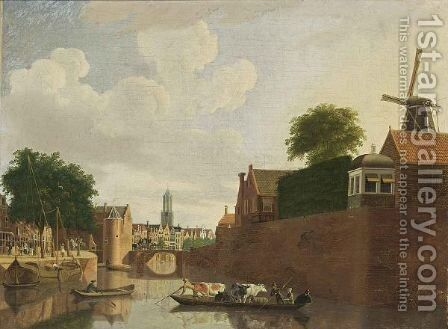 Utrecht A View Of The Weerdpoort With The Domtoren Beyond by Hendrik Keun - Reproduction Oil Painting