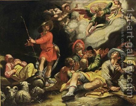 The Annunciation To The Shepherds by (after) Abraham Bloemaert - Reproduction Oil Painting