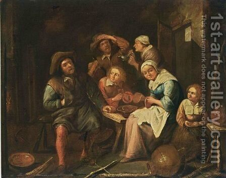 Peasants Eating And Drinking In An Interior by (after) Gillis Van Tilborgh - Reproduction Oil Painting