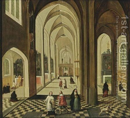 A Church Interior With Figures Attending Mass, And A Priest And Other Figures Conversing In The Foreground by (after) Pieter The Younger Neefs - Reproduction Oil Painting