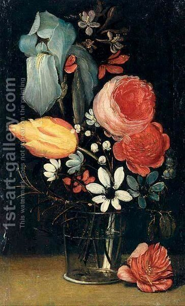 A Still Life With An Iris, Roses, A Tulip And Various Other Flowers Together In A Glass Vase by (after) Jan Van Den Hecke - Reproduction Oil Painting