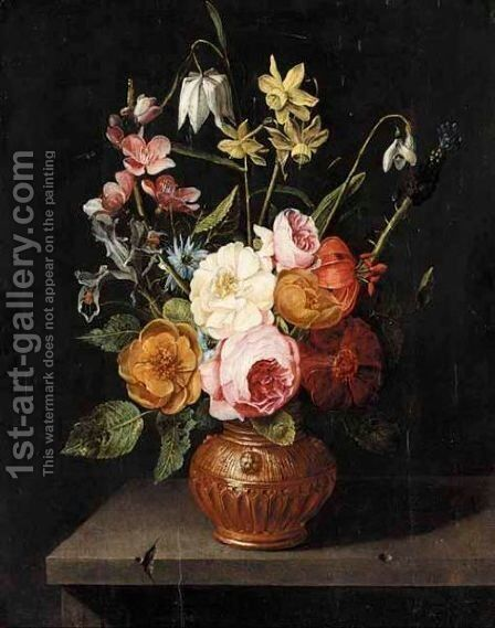 A Still Life Of Roses, Lilies, Irises, Narcissi And Snake-Head Fritillaries, In An Urn, Upon A Stone Ledge by (after) Clara Peeters - Reproduction Oil Painting