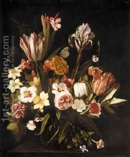 A Still Life Of Tulips, Roses, Irises, Carnations And Various Other Flowers Together In A Glass Vase On A Ledge by Jan Philip van Thielen - Reproduction Oil Painting