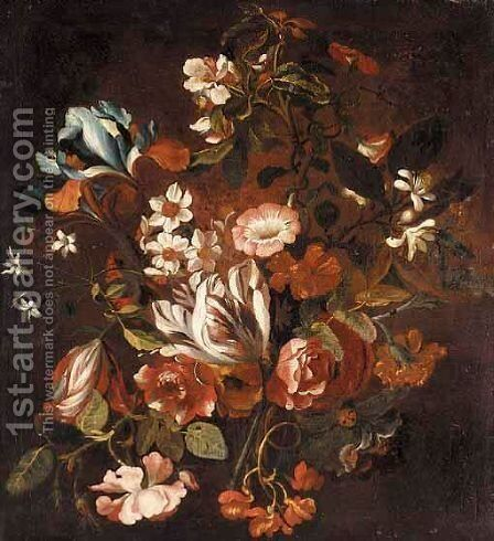 A Still Life With Tulips, Narcissi, Morning Glory, Irises, Roses, Orange Blossom And Chrysanthemums by (after) Simon Pietersz. Verelst - Reproduction Oil Painting