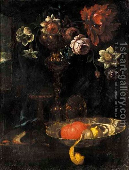 A Still Life Of A Peeled Lemon, An Orange, And Flowers In A Silver Gilt Cup Together On A Table by (after) Willem Kalf - Reproduction Oil Painting