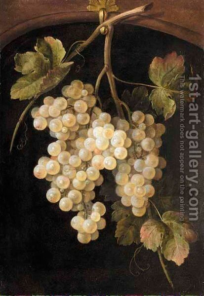 A Still Life Of A Bunch Of Grapes Hanging From A Hook by Dutch School - Reproduction Oil Painting