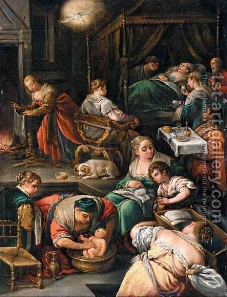 The Birth Of The Virgin by (after) Francesco Da Ponte, Called Francesco Bassano - Reproduction Oil Painting