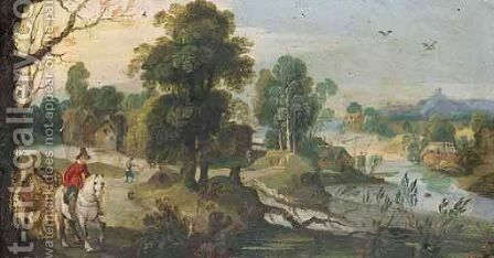 A River Landscape With A Horseman Leading A Pack Horse In The Foreground by (after) Sebastiaen Vrancx - Reproduction Oil Painting