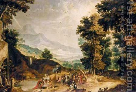 A River Landscape With Saint Philip Baptising The Moor by (after) Joos Or Josse De, The Younger Momper - Reproduction Oil Painting