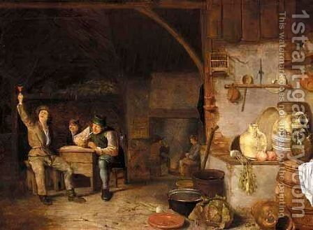A Barn Interior With Boors Smoking And Drinking by Dutch School - Reproduction Oil Painting