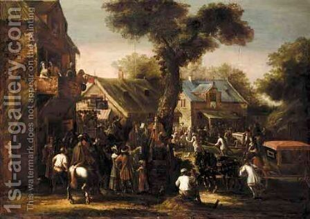 A Crowded Village Scene With A Messenger Reading A Proclamation by Jan Van Eyck - Reproduction Oil Painting