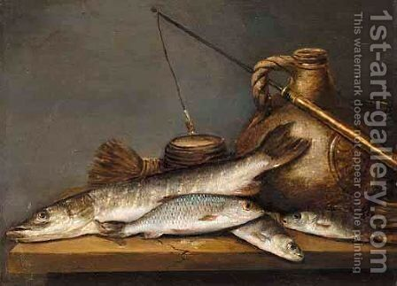 A Still Life With A Pike And A Perch Together With A Stoneware Jug And A Fishing Line On A Table by (after) Pieter De Putter - Reproduction Oil Painting