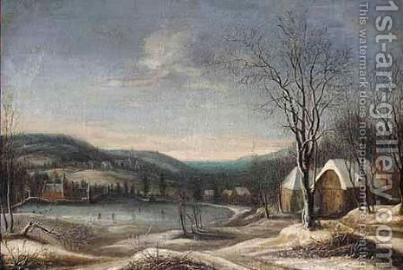 A Winter Landscape With Skaters On A Lake, A Village Beyond by (after) Daniel Van Heil - Reproduction Oil Painting