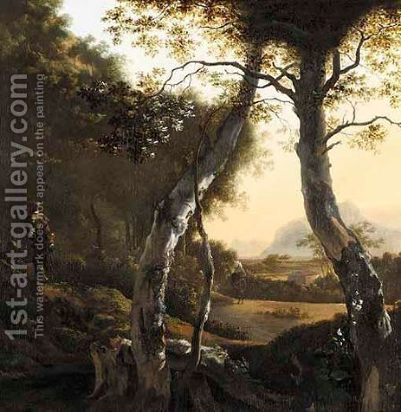 An Italianate Landscape With Drovers And Their Herds by (after) Adam Pynacker - Reproduction Oil Painting