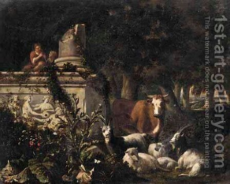 A Wooded Landscape With Piping Shepherds And Their Flocks by Abraham Jansz Begeyn - Reproduction Oil Painting
