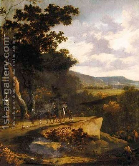 A Wooded Landscape With Travellers On A Path by (after) Hans De Jode - Reproduction Oil Painting