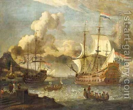 A Mediterranean Port Scene With Two Dutch Vessels At Anchor by (after) Abraham Storck - Reproduction Oil Painting