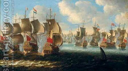 A Naval Engagement Between Dutch And English Ships by Dutch School - Reproduction Oil Painting
