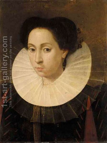 A Portrait Of A Lady, Bust Length, Wearing A Black Dress And A White Ruff by Netherlandish School - Reproduction Oil Painting
