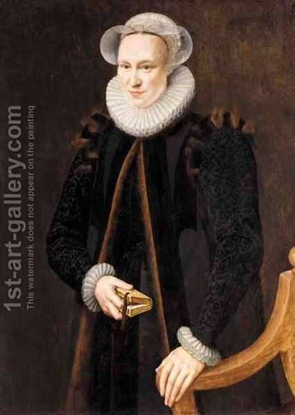A Portrait Of A Lady, Three-Quarter Length, Wearing A Black Coat And A White Ruff, Holding A Book by Adriaen Thomasz. Key - Reproduction Oil Painting