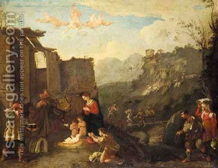 The Adoration Of The Shepherds by (after) Domenico (Micco Spadaro) Gargiulo - Reproduction Oil Painting