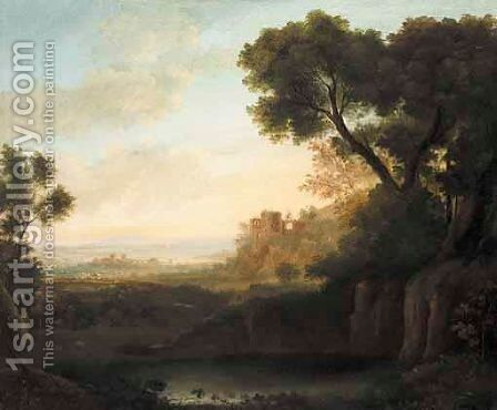 An Italianate Landscape With A Shepherd And His Flock Before Ruins, The Sea Beyond by Italian School - Reproduction Oil Painting