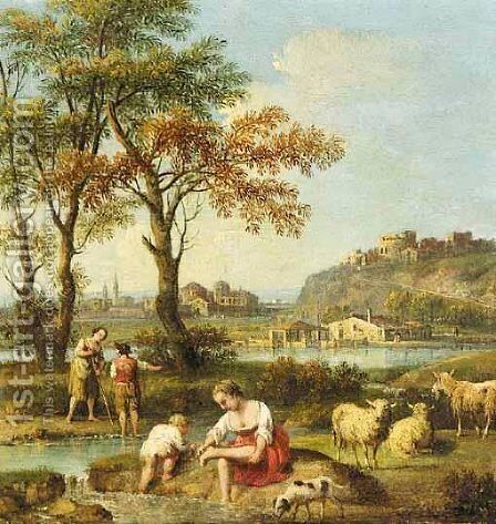 An Italianate Landscape With Figures Washing In A River by Giovanni Battista Tiepolo - Reproduction Oil Painting