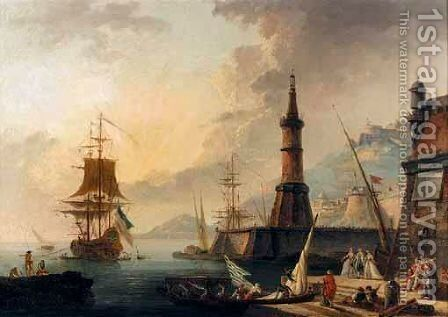 A Mediterranean Harbour Scene by (after)  Claude-Joseph Vernet - Reproduction Oil Painting