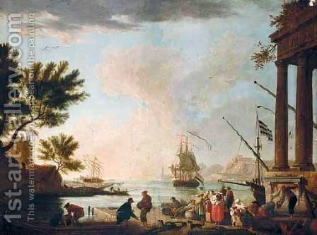 A Southern Harbour Scene With Figures Loading A Boat In The Foreground by (after)  Claude-Joseph Vernet - Reproduction Oil Painting