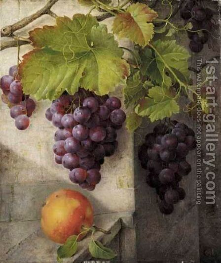 A Still Life With Grapes On A Vine And A Peach On A Stone Ledge by Christine Marie Lovmand - Reproduction Oil Painting