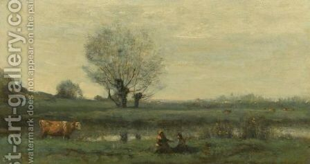 Paysage 2 by Jean-Baptiste-Camille Corot - Reproduction Oil Painting