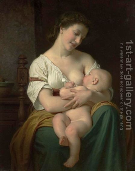 Mother And Child 2 by Hugues Merle - Reproduction Oil Painting