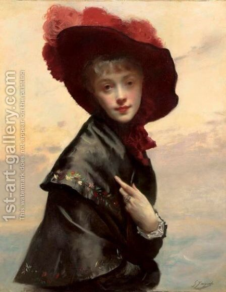 Portrait Of A Young Woman In A Black Hat And Red Feathers by Gustave Jean Jacquet - Reproduction Oil Painting