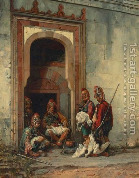 Bashi Bazouks In A Doorway by Stanislaus von Chlebowski - Reproduction Oil Painting