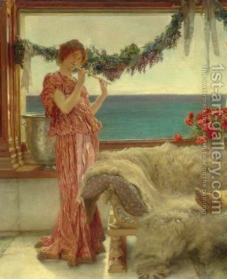 Melody On A Mediterranean Terrace by Sir Lawrence Alma-Tadema - Reproduction Oil Painting