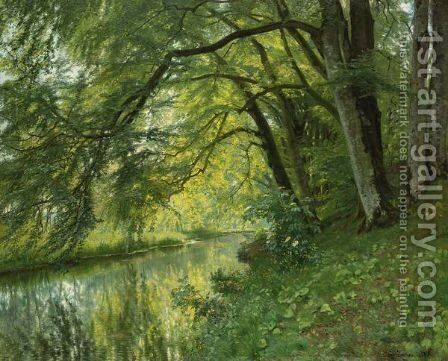 River Landscape by Christian Zacho - Reproduction Oil Painting
