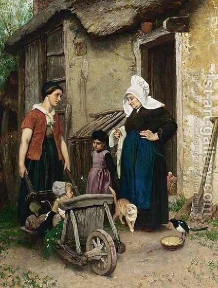 A'Buurtpraatje A' by August Allebé - Reproduction Oil Painting