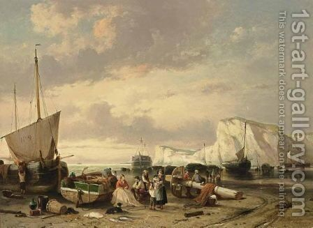 Daily Activities On The Beach by Jan Michael Ruyten - Reproduction Oil Painting