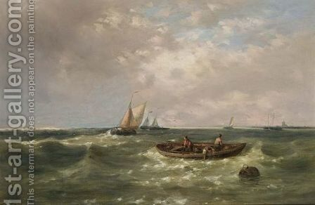 Fishing Boats In Choppy Waters by Abraham Hulk Jun. - Reproduction Oil Painting